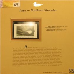 2002  Iowa Waterfowl Stamp $8.50, Mint Condition in plastic sleeve with literature, unsigned. Depict