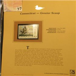 2002  Connecticut Waterfowl Stamp $5.00, Mint Condition in plastic sleeve with literature, unsigned.