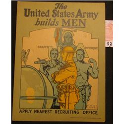 "1924 Army Enlistment Poster ""The United States Army builds Men Apply Nearest Recruiting Office"". by"