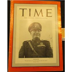 "April 8, 1940 ""Time The Weekly Newsmagazine"", cover depicts ""Mussolini."", excellent condition."