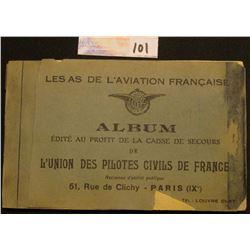 """1930 era Post Card Album with Fighter Pilots depicted with autographs """"Les As De L'Aviation Francais"""