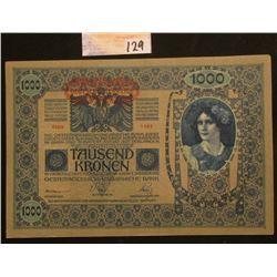 1902 Hungary 1000 Korona Bank note, Near CU.