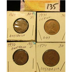 1969, 71, 72, & 74 Cents from Australia.