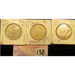 1969, 71, & 79 Belgium Five Francs.