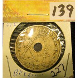 1922 Belgium Twenty-Five Cents. VF.
