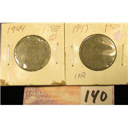 1943 & 44 Belgium One Franc Coins.