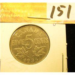 1935 Canada Nickel, EF.