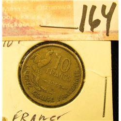 1952 France Ten Francs.
