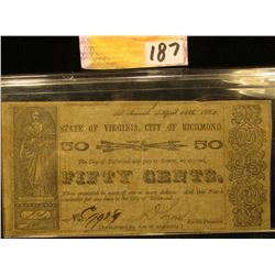 1862 Civil War Richmond, Virginia Fifty Cent Note.