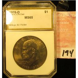1976 D Eisenhower Dollar Type II PCI slabbed MS 65.
