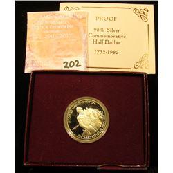 1982 S George Washington Proof Silver Commemorative Half Dollar in original government issued box.