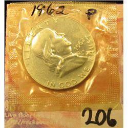 1962 P Proof Franklin Half Dollar in Government Mylar.