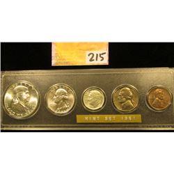 1961 P U.S.Year Set in case, Brilliant Uncirculated.