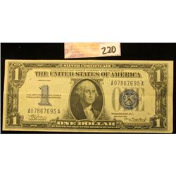 """Series 1934 One Dollar U.S. """"Funny Back"""" Silver Certificate. Nice clean note. EF."""