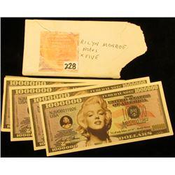 (5) Marilyn Monroe Fantasy Banknotes.