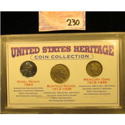 """""""United States Heritage Coin Collection"""", three-piece set in special case. Includes 1943 P World War"""