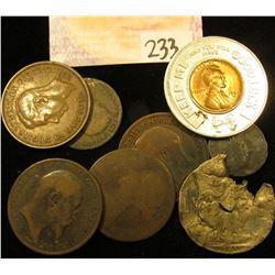 1954 D Encased Lincoln Cent, BU; Mercury Dime & Walking Liberty Silver Half Dollar damaged in a fire