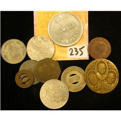 """Group of Tokens some of which are from Ottumwa, Iowa including a """"Mission Pin Pool Check""""; """"Sory Lum"""