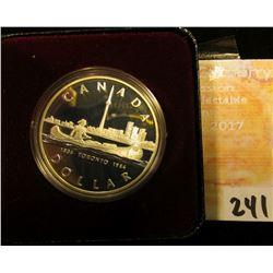 """1834 1984 """"Toronto, Canada 150th Anniversary.500 Fine Silver Cameo Proof Silver Dollar in original b"""