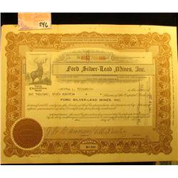 "1927 Stock Certificate for 1,700 Shares of ""Ford Silver+Lead Mines, Inc."", Elk vignette left central"