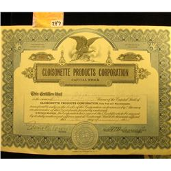 """1930 Stock Certificate for 225 Shares of """"Cloisonette Products Corporation Capital Stock"""", upper cen"""