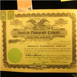 """1905 Stock Certificate for 10 Shares of """"…American Planograph Company Capital Stock"""", upper central"""