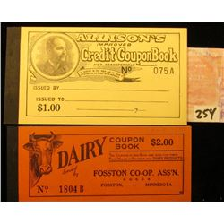"Pair of Credit Coupon Books: ""Dairy Coupon Book $2.00…Fosston Co-op. CR'Y. Ass'n. Fosston, Minnesota"