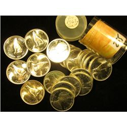 "1867-1967 Original BU Roll of Canada ""Confederation"" Wolf Commemorative Half Dollars in a plastic tu"