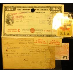 "Dec. 25, 1891 Receipt of Captain W.E. Hourre by ""Headquarters Doud Division, Sons of Veterans, U.S.A"