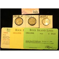 "(3) Different ""Rock Island Lines"" Railroad Passes 1962-1965; 1938 D, S, & 39 S Jefferson Nickels, al"