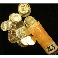 "1967 Original Solid Date Brilliant Uncirculated Roll of ""Fish"" Canada Confederation Silver Dimes. Al"