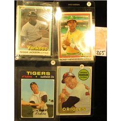 1969 Topps #550 Brooks Robinson Baseball Card; 1981 Topps #119 Rickey Henderson & #468 Reggie Jackso