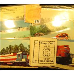 Group of Pennsylvania Rail Road Playing Cards; & a group of Old Rail Road Post Cards.