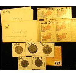 (4) Blocks of Four Walt Disney Six Cent U.S.A. Stamps; several business cards from Mr. Griffin, Siou