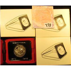 (3) 1870-1970 Manitoba, Canada Cased Commemorative Dollars in original holders.