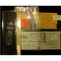 "Feb. 3rd, 1849 $7,000.00 check from Hartford & New Haven Rail Road; Pair of ""Yeisley Elevator Gift C"