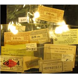 "(3) Tickets with stubs ""Prof. Roche Hypnotist Admit One"", 'Doc' says he appeared in Tipton, Iowa in"