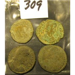 (4) more only partially attributed A.D. 337-361 AE centenionalis Constantius II. All from a metal de