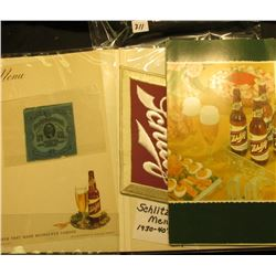 (8) pieces of old Schlitz Beer Advertising Memorabilia including a Cloth patch; & a Series 1908 Inte