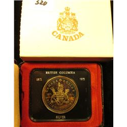 1871-1971 British Columbia, Canada .500 Fine Silver Proof-like Dollar in original simulated leather