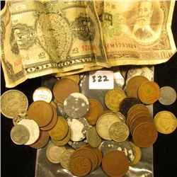 (61) Pieces of Foreign Coins, Tokens, and paper money. Includes some Canada Silver Coins, pornograph