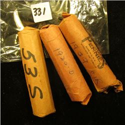 1909 P, 20 D, & 53 S Solid Date Rolls of U.S. Wheat Cents. Circulated.
