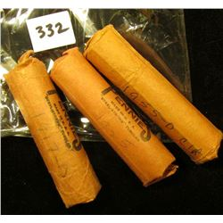 1917 D, 25 P, & 55 D Solid Date Rolls of U.S. Wheat Cents. Circulated.