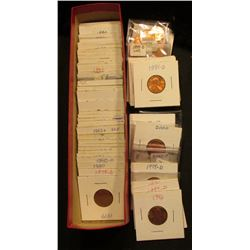 "9"" x 2"" x 2"" Red Stock box 3/4 full of carded Lincoln Cents 1979 & up, most of which are BU and need"