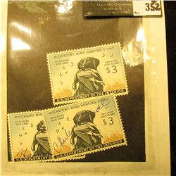 (3) 1959 RW26 Federal Migratory Waterfowl $3 Stamp, LH, (1) Unsigned,& (2) Signed.