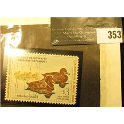 1960 RW27 Federal Migratory Waterfowl $2 Stamp, Unsigned, and unused.