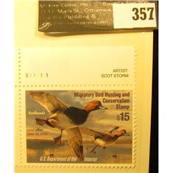2004 RW71 Federal Migratory Waterfowl $7.50 Stamp, Unsigned, and unused with artist pane.