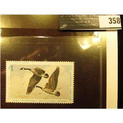 1975 Iowa Migratory Waterfowl Stamp, #IA4, XF, NH, perfs on four sides.