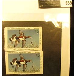 Pair of 1980 IA9 Iowa Migratory Waterfowl Stamp, VF-XF, Unsigned, NH, perfs on four sides.