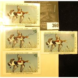 (4) 1980 IA9 Iowa Migratory Waterfowl Stamps, One unsigned, other three signed.